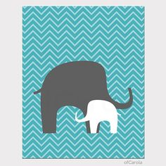 Baby Print Elephants Chevron Nursery Wall Art  Kids by ofCarola, $15.00