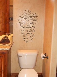 Inspiration can strike in the most unlikely of places funny bathroom sign home decor vinyl decal sticker Bathroom Wall Quotes, Bathroom Humor, Bathroom Signs, Bathroom Wall Stickers, Vinyl Wall Quotes, Vinyl Wall Decals, Bathroom Red, Master Bathroom, Bathroom Stuff