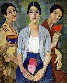 "anweledig: "" H. Funke, Drei Frauen (Three Women), oil on canvas, Lentos Kunstmuseum, Linz "" Matisse, Triple Goddess, Abstract Portrait, Beautiful Paintings, Figure Painting, Female Art, Oil On Canvas, 3 D, Art Drawings"