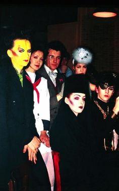 Boy George, Vivienne Lynn, Chris Sullivan, Pinkie Tessa, Kim and Steve Strange at the Blitz - 1980