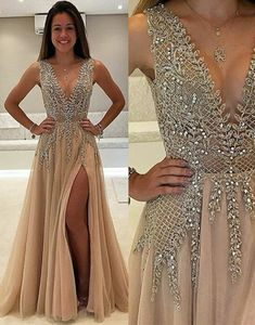 champagne v neck beads long prom dress, champagne evening dress for teens