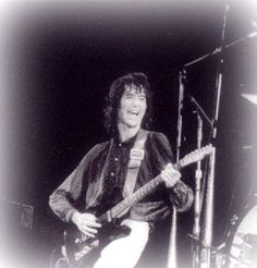 Rare shot of Jimmy Page laughing, 1979, Knebworth