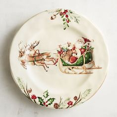 Our heirloom-worthy Winter's Wonder Santa with Sleigh Dinner Plate has all the makings of a family tradition. Crafted of ironstone, it features Santa driving two of his favorite reindeer and a border of holiday greenery and red holly berries. Christmas Dinner Plates, Christmas China, Christmas Table Settings, Christmas Tablescapes, Christmas Tea, Christmas Table Decorations, Christmas Kitchen, Vintage Christmas, Christmas Trimmings