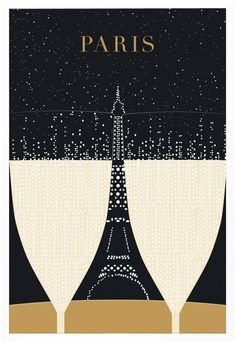 Share a Drink / Eiffel Tower Paris poster by Evan Robertson
