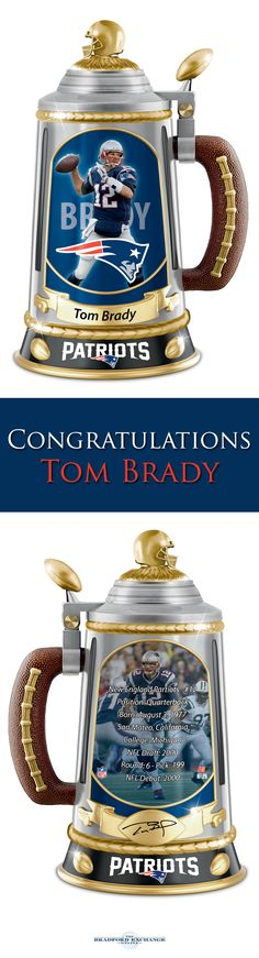 Honor a lifetime of historic NFL achievements with the Tom Brady Collector's Tribute Stein. This limited-edition New England Patriots collectible features dramatic images of the star quarterback, team logos, colors and 22K-gold accents.