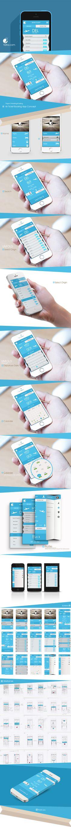 Air ticket booking App UX/UI Concept by Sansar Verma, via Behance