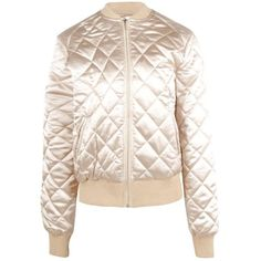 Boohoo Olivia Quilted Satin Bomber (€40) ❤ liked on Polyvore featuring outerwear, jackets, pink puffer jacket, quilted puffer jacket, longline jacket, puffer jacket and pink duster coat