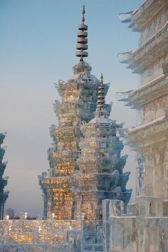 Beautiful ice sculpture at the Harbin Ice  Snow Sculpture Festival in China.Visit ocjohn.com high end real estate