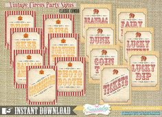Vintage Circus Game/Carnival Signs Party Decorations by Sassaby Carnival Signs, Carnival Decorations, Diy Carnival, Carnival Themes, Birthday Party Decorations, Birthday Ideas, Spring Carnival, School Carnival, Circus Party Games