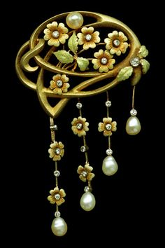 This is not contemporary - image from a gallery of vintage and/or antique objects. WILHELM ULLRICH Jugendstil Brooch Gold Enamel Diamond Pearl