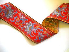 Blue and Pink Floral On Orange Ground Jacquard Ribbon 2.25 Inch at Dove Originals Trims | Cording, Lace Trim, Fabric Fringe