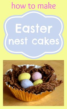 Sweet Easter birds nest cakes - a classic, no-bake cake. They're perfect for Easter and perfect for little children to make.