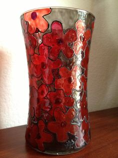 Deep Red Cherry Blossoms candle holder/vase by SparkysGlassArt, $25.00