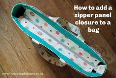 Zipper Panel Closure : How to add a zip panel to an open top bag Bag Pattern Free, Bag Patterns To Sew, Tote Pattern, Sewing Patterns, Wallet Pattern, Pattern Fabric, Patchwork Bags, Quilted Bag, Crazy Patchwork