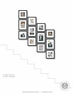 Staircase Framed Photo Gallery Wall Design by Ann Ellis Photo Gallery Hallway, Gallery Wall Staircase, Staircase Wall Decor, Gallery Wall Bedroom, Staircase Design, Stair Photo Walls, Stair Walls, Staircase Frames, Frames On Wall