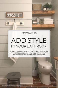 Easy Ways to Add Style to Your Bathroom / Bathroom Inspiration / Bathroom Decorating / Fixer Upper / Shiplap / Simple Decorating / Modern Farmhouse Decor Inspiration, Bathroom Inspiration, Decor Ideas, Decorating Ideas, Modern Bathroom, Small Bathroom, Bathroom Ideas, Restroom Ideas, Budget Bathroom