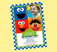 Sesame Street Birthday Invite - Available with or without your childs photo on Etsy, $12.99