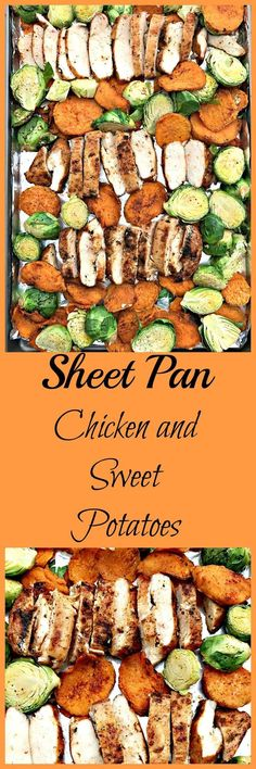 Sheet pan chicken and sweet potatoes meal prep is a quick and easy dinner with chicken, sweet potatoes with olive oil and cinnamon, and brussels sprouts. Sweet Potato Recipes, Chicken Recipes, Chicken Meals, Recipe Sheets, Sheet Pan Suppers, Cooking Recipes, Healthy Recipes, Cooking Time, Pan Cooking