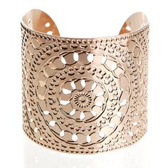 Rose Gold plated cuff central circles moroccan henna design