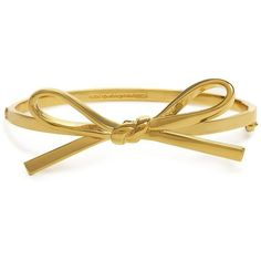 kate spade new york Skinny Mini Bow Bangle ($78) ❤ liked on Polyvore featuring jewelry, bracelets, accessories, rings, pulseiras, gold, hand crafted jewelry, ribbon jewelry, hinged bangle and kate spade
