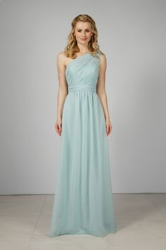 A statement one shoulder chiffon bridesmaid gown with an asymmetrical  ruched bodice. The full length skirt has gathering at the centre front and  back ... dcd8c6691df5