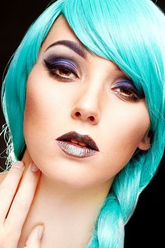 © Copyright Ella Tebbutt Photography 2015. Makeup Ella Tebutt. Model Dani Race Hair Phie's Salon  blue turquoise hair wig plait