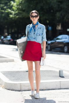 Red mini with a chambray shirt, sneakers + neck scarf.