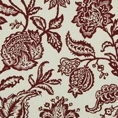Floral Fabric - Decorating Fabrics -Jacobean Toss Ikat Floral Poppy Woven Upholstery Fabric by Robert Allen