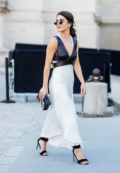 Paris Fashion Week Haute Couture street style: white dress with leather bralette top