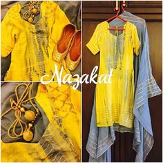 """A mustard yellow and grey tye and dye kurta with gotta work teamed up with our """"GOLD MIST"""" juttis ❤️ Because we believe less is more  More pictures coming up soon! Colour can be customised DM or whatsapp details Shipping worldwide  For more: www.facebook.com/nazakatjal #mustard #grey #slate #yellow #tyeanddye #blingy #gold #golden #pretty #beautiful #gorgeous #elegant #awesome #amazing #lovely #loveit #gotta #indian #indianwear #ladies #ladieswear #ethnic #ethnicwear #women #womenwear #mu... Yellow Suit, Grey Yellow, Mustard Yellow, Tye And Dye, Tye Dye, Patiala, Salwar Kameez, Suits For Women, Women Wear"""