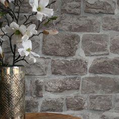 Reclaimed Old Stone Grey Brick, Brick And Stone, Old Stone, Grey Stone, Stone Walls, Brick Effect Wallpaper Bedroom, Stone Wallpaper, Wall Wallpaper, Wallpaper Ideas