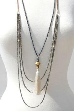 Single Strand Onyx Pave Tassel Necklace – Ingrid Ysla