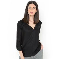 Blusa de decote em v em cetim de seda Laura Clement | La Redoute