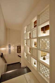 Best Pooja Room Design in India Living Room Partition Design, Pooja Room Door Design, Room Partition Designs, Home Room Design, Home Interior Design, Temple Design For Home, Mandir Design, Indian Home Interior, Indian Interiors