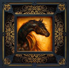 """""""Al Aswad"""" - Limited Edition Original Artwork S. Small Paintings, Large Painting, Animal Paintings, Figure Painting, Gypsy Caravan, Equine Art, Authenticity, Certificate, Metal Working"""