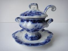 2.75in tall (tureen) 3.75in long (plate) SUPER RARE FLOW BLUE 'CHINESE BELLS'  $861.99 Nov 30, 2014