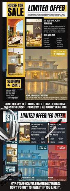 Buy Real Estate Flyer by flyernerds on GraphicRiver. Real Estate Flyer Description : with bleed Print Ready ( CMYK, ) Easy to edit and fully customizable . Flyer Design, Design Flyers, My Design, Print Design, Graphic Design, Marketing Office, Promotional Flyers, Real Estate Flyers, Business Flyer Templates