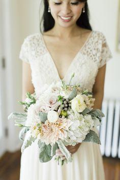 Pastel dahlia, rose and hydrangea #wedding #bouquet: Photography: CLY BY MATTHEW - clybymatthew.com