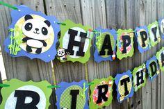 Panda Bear Birthday Banner, Blue and Green Panda Banner, Panda baby shower, Panda banner, Panda Birthday Banner, Panda Baby Shower Banner by NishsCreations on Etsy Panda Baby Showers, Creative Banners, Panda Birthday, Baby Banners, Panda Bear, Disney, Handmade Gifts, Green, Blue