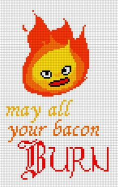 'Calcifer' the sarcastic fire demon from howl's moving castle knitting chart