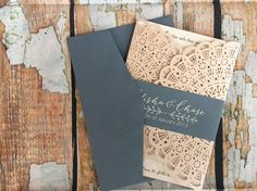 Blush Wedding Invitation Rustic dusty blue Invites blush