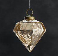 Vintage Hand-Blown Glass Ornament Octagon - Gold