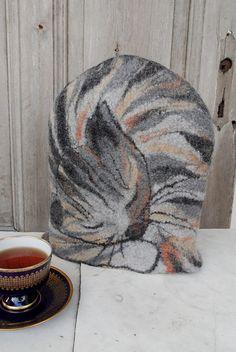 Felted tea cozy sleeping tabby cat teapot cosy tea by filcAlki