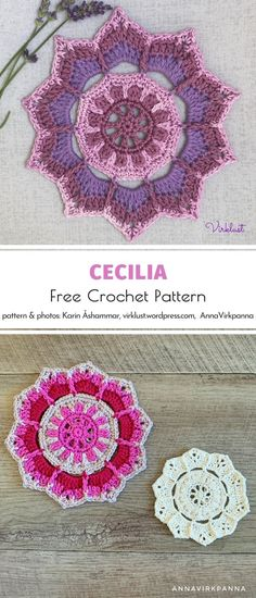 Let us introduce Cecilia, the charming doily for autumn! This lilac shade mixed with pastel pink looks so feminine and elegant, doesn't it? Yes! When we look at this design by Virklust, we think of lavender fields. So romantic! #freecrochetpattern #crochetpattern #crochethomedecor #crochetdoily Crochet Mandala Pattern, Crochet Doilies, Crochet Patterns, Crochet Hearts, Web Patterns, Quilt Patterns, Crochet Home Decor, Crochet Projects, Art Projects