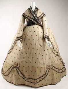 Visiting dress, Costume Institute Medium: silk Gift of Miss Irene Lewisohn, 1937 Metropolitan Museum of Art, New York, NY Civil War Fashion, 1800s Fashion, 19th Century Fashion, Victorian Fashion, Vintage Fashion, Antique Clothing, Historical Clothing, Historical Dress, Vintage Gowns