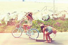 Lovin' the blue beach cruiser and skate board.