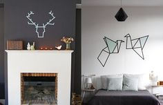 Desenhos na parede - para decorar a casa com WashiTape (decotape);