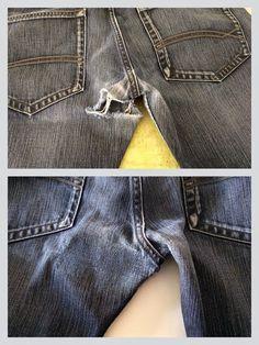 """Er lagen hier heel wat broeken op de stapel """"te recycleren"""". Tot ik op Facebook ergens een tip zag om de broeken toch nog te herstellen,..."""