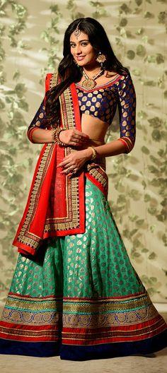 154661: This #lehenga is what you need this party season. Order at flat 10% off. Free shipping worldwide.  #Bridalwear #indianfashion #indianwedding #green #banarasi #chanderi #ethnicwear