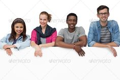 Portrait of four happy young friends with blank board over white background ...  20s, Looking At Camera, attractive, beautiful, black, blank, board, casual, caucasian, cool, copy space, cut out, denim, ethic, female, friends, friendship, handsome, happy, isolated, male, man, mixed-race, placard, portrait, pretty, relationship, shirt, showing, smiling, standing, stole, together, trendy, white background, woman, young adult